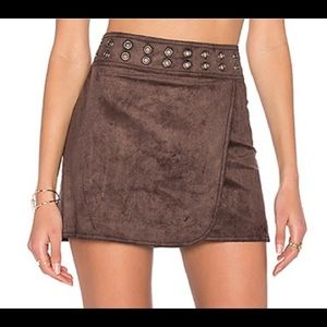 BCBGMaxAzria Dorthy Brown Faux Suede Mini Skirt